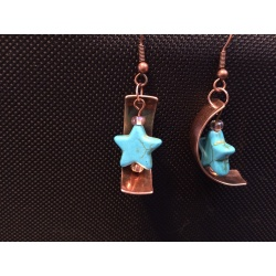 Turquoise stars on copper earrings
